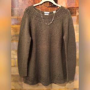 GAP 100% Linen Hand-Knit LS Moss Green Sweater